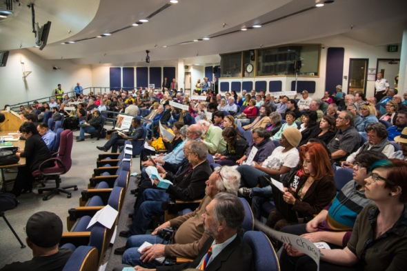 Wednesday's City Council meeting, the first since the release of the video footage of the APD killing of James Boyd, was devoted entirely to critics of APD. The meeting drew a capacity crowd of over a 150 people, with an overflow crowd outside.