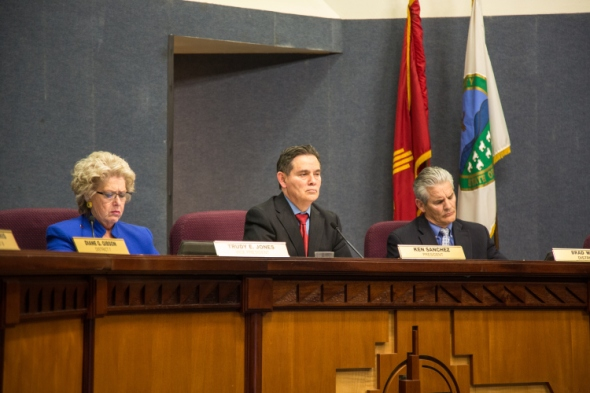 City Council President Ken Sanchez presided over the meeting and the public hearing about the recent the most recent spate of police violence, stemming from APD's killing of James Boyd and Alfred Redwine and response to recent protests against the department